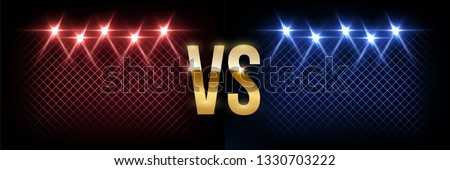 Battle vector banner vector concept. Girls and boys competition illustration with glowing versus symbol. Night club event promotion. MMA, wrestling, boxing fight poster. Ladies, men night flyer