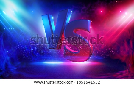 Battle vs match, game concept competitive. Illuminated stage with versus logo for sports and fight competition. Resistance symbol. Volumetric illuminated letters on a dark background. Rays of light in