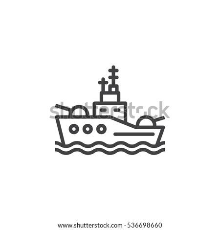 battleship line icon  outline