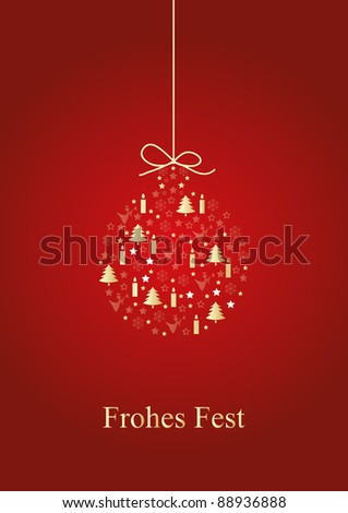 Bauble on red background