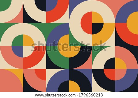 Bauhaus composition artwork made with vector abstract elements, lines and bold geometric shapes, useful for website background, poster art design, magazine front page, banners, prints cover.