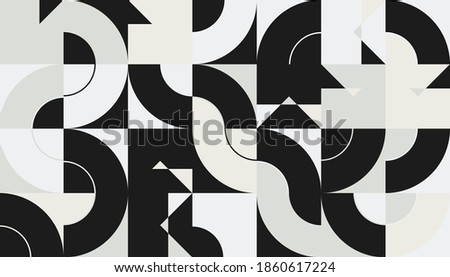 Bauhaus composition artwork made with vector abstract elements, lines and bold geometric shapes, useful for website background, poster art design, magazine front page, banners, prints cover. Stock fotó ©
