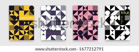 Bauhaus geometric pattern background, vector abstract geometric circle, triangle and square lines art. Black and white color Bauhaus or Swiss patters backgrounds set