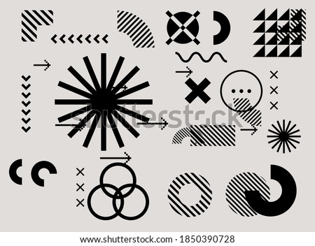 Bauhaus inspired graphic design collection with vector abstract elements, lines and bold geometric shapes, useful for poster art, front page design, wall decorative prints.