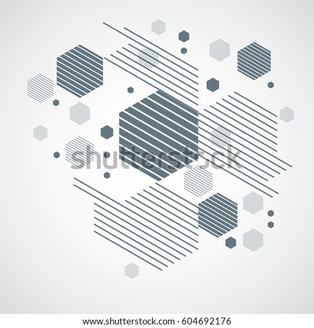 Bauhaus retro wallpaper, art vector monochrome background made using grid, circles and rhombuses. Geometric graphic 1960s illustration can be used as booklet cover design. Technological pattern.