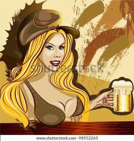 Bavarian waitress with a beer at the bar