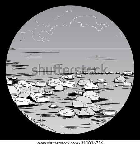 Stock Photo Bay and rocks on cloudy day - hand drawn digital artwork