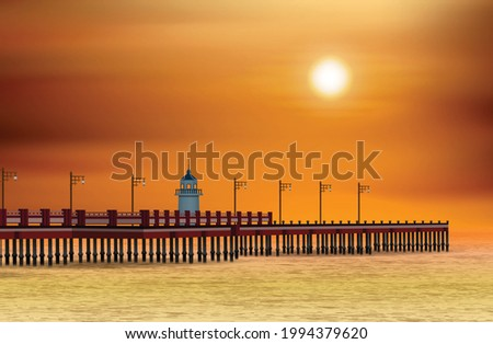 bay jetty and sea scenery in