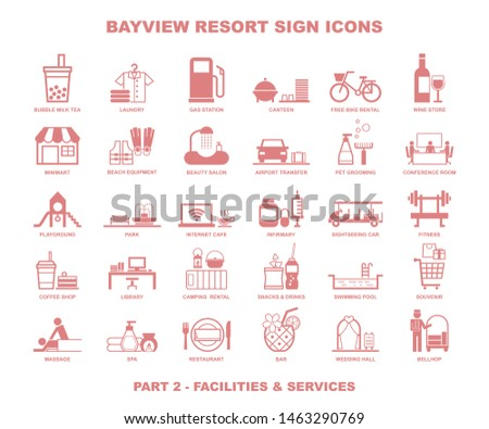 bay view resort sign icons