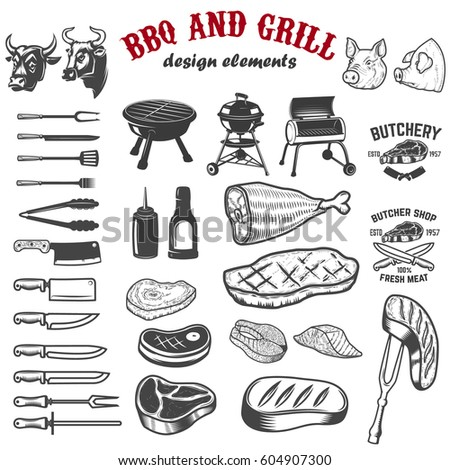 bbq and grill design elements...