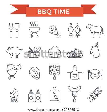 BBQ and grill icons, thin line design