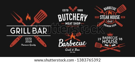 BBQ and Steakhouse logo set. Vintage barbecue emblems. Restaurant labels, emblems, logo. Vector logo template