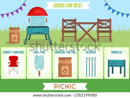 BBQ at Home Gears Accessories Advertising Flat Banner Online Shop Touristic Goods Picnic Outdoors Product Cards Vector Store Illustration Tourist Furniture Grill Pan Charcoal for Fire Skewers Barbecue