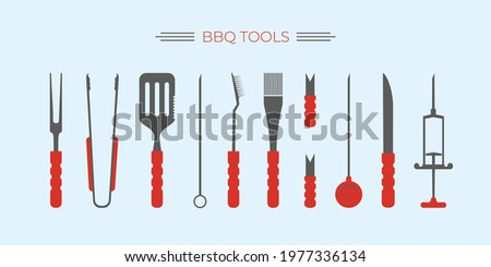 BBQ, barbecue,grill accessories, popular grilling utensils tools set. Thermometer,meat Injector, claws, fork and tongs,spatula, skewer, knife, cleaning brush.Colorful flat isolated vector illustration