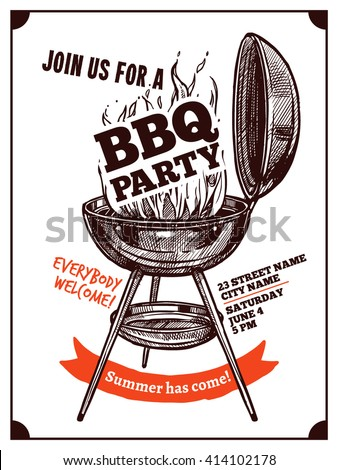 Bbq Barbecue Vintage Party Poster With Fire