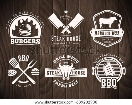 bbq  burger  grill badges. set...