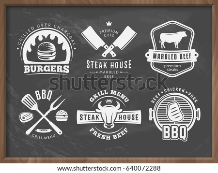 bbq  burger  grill badges. set...