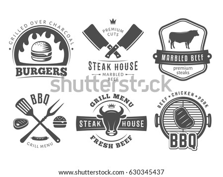 BBQ, burger, grill badges. Set of vector barbecue logos. Vintage emblems for steak house or grill bar.