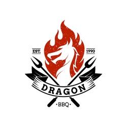 BBQ dragon mascot logo.vintage retro style.barbecue restaurant icon.grilled food