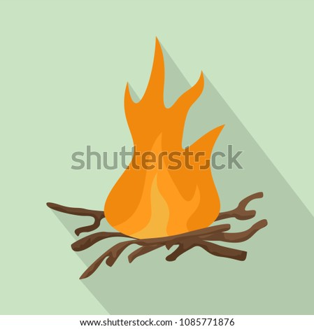 Bbq fire icon. Flat illustration of bbq fire vector icon for web design