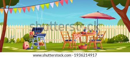 Bbq, food and drinks garden party in backyard, served table and chairs, umbrella. Vector fruits and vegetables, wine and beer, meat on skewer and hamburger. Green grass and fence, trees, holiday flags