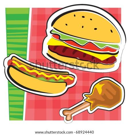 BBQ food illustration - stock vector
