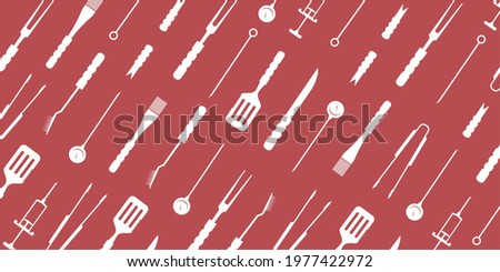 BBQ, grill accessories, popular grilling utensils tools background, pattern.Thermometer,meat Injector, claws,fork,tongs,spatula,skewer, knife, cleaning brush.Colorful flat isolated vector illustration
