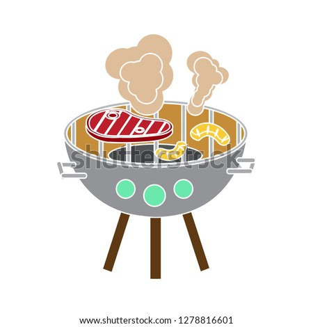 bbq grill icon-barbecue sign-grilling illustration-food illustration-steak isolated-restaurant vector