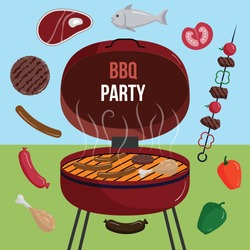 BBQ grill meat barbecue restaurant party at home dinner vector products