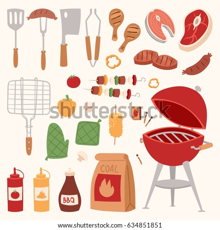 BBQ grill meat barbecue restaurant party at home dinner vector products skewer grilling kitchen equipment flat illustration Meat food for family summer time