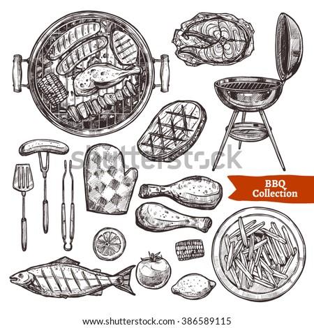 bbq grill sketch set. hand...