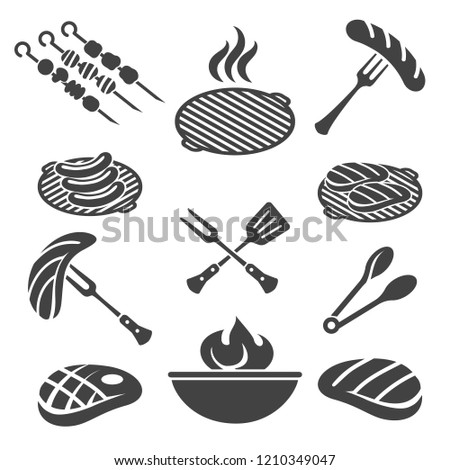 Bbq icons. Barbecue grill icon set with pork steak and chef, sausage fork and tomato sauce, vector illustration