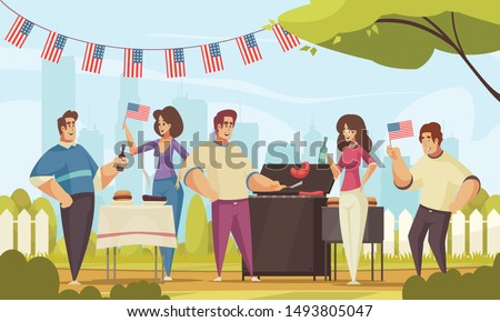 Bbq independence day america composition with outdoor landscape and group of friends having good time outdoors vector illustration