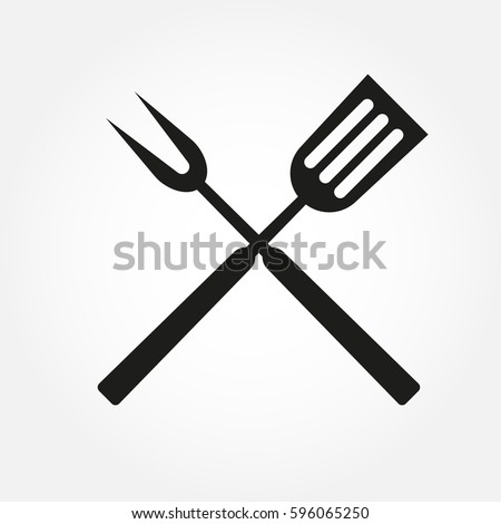 BBQ or grill tools icon. Crossed barbecue fork with spatula. Vector illustration.