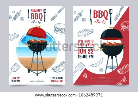 BBQ party a4 invitation template. Summer Barbecue weekend flyer. Grill illustration with food sketches . Design template for menu, poster, announcement. Vector eps 10.