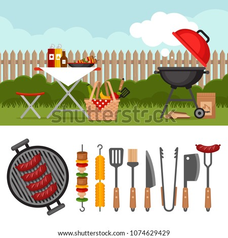 Bbq party background with grill. Barbecue poster. Bbq tools set. Barbecue grill  isolated elements. Flat style, vector illustration.