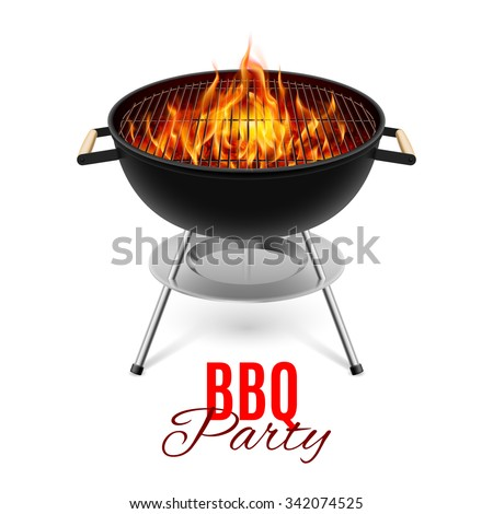 BBQ party banner grill with fire isolated on white
