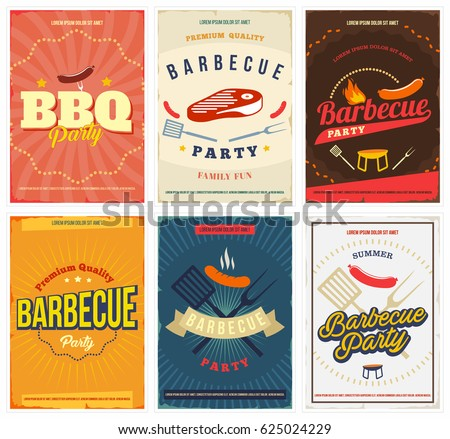 bbq party colored posters set....