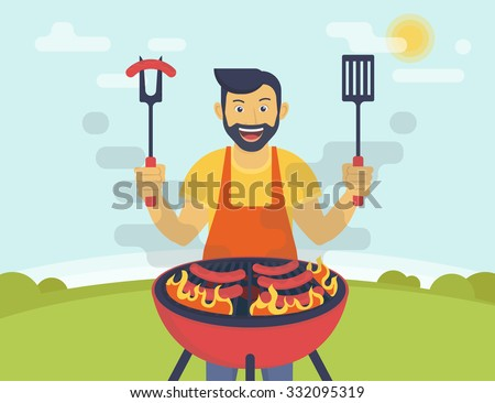 BBQ party. Flat illustration of smiling guy is cooking sausages barbecue outdoors. Funny hipster wearing beard is cooking bbq for his friends