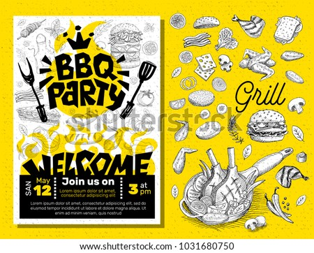 BBQ party Food poster. Barbecue template menu invitation flyer design elements, food, lemon, sausages, meat, fish, hamburger, sandwich, chicken, drinks, knife, fork, onion, wings, tomatoes, vegetables