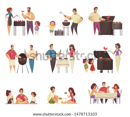 Bbq party grill set of isolated compositions with flat doodle style characters of people with barbecue vector illustration