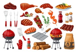 BBQ party icons set, barbecue, grill or picnic. Grilled salmon, sausage, vegetables, meat steak and shrimp. Barbecue tools vector illustration
