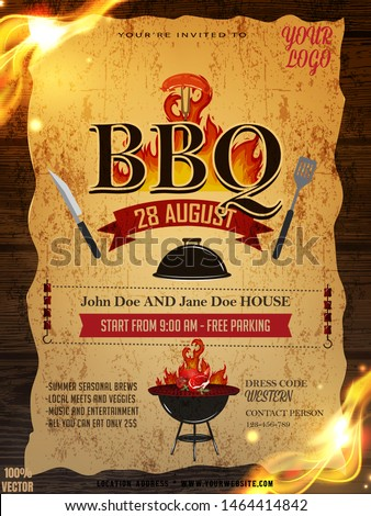 BBQ party invitation template on yellow pattern with grunge. Summer Barbecue weekend flyer. Grill illustration with food and grill elements on wooden. Vector design for celebration, invitation, cards.