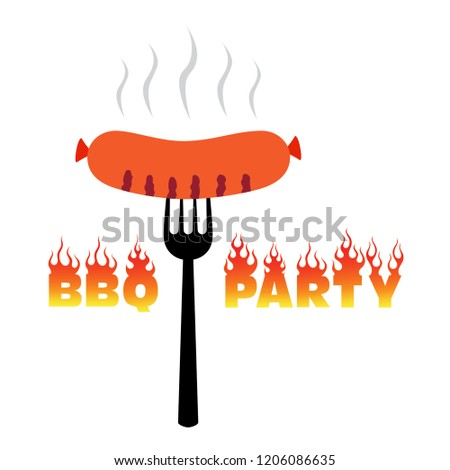 BBQ party logo, barbecue poster vector illustration – grill sausage, sign barbecue time