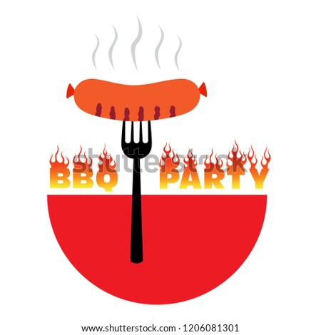 BBQ party logo vector illustration – grill sausage, symbol barbecue time