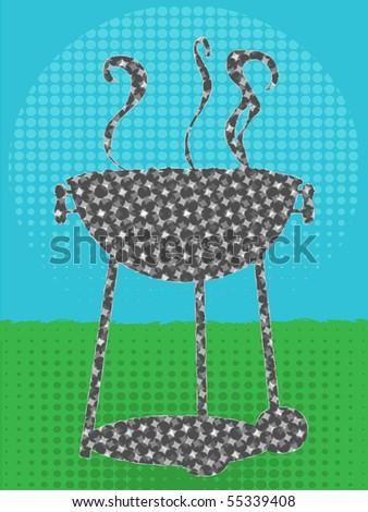 BBQ silhouette halftone texture green grass blue sky
