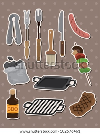 bbq tools stickers - stock vector