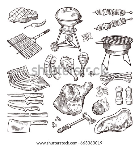 bbq vector hand drawn...