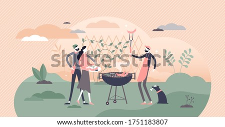BBQ vector illustration. Barbecue grill and cooking process flat tiny persons concept. Meat outdoors picnic party with friends and hot smoke sausages. Summer leisure with beers and meals in garden.