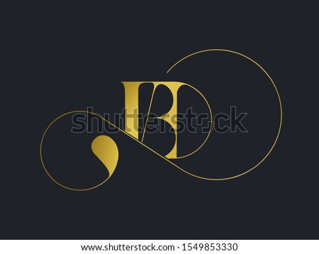 BD monogram logo.Typographic icon with metallic gold letter b and letter d.Uppercase lettering sign with decorative swirl.Alphabet initials isolated on dark fund.Modern,luxury,beauty,boutique style.